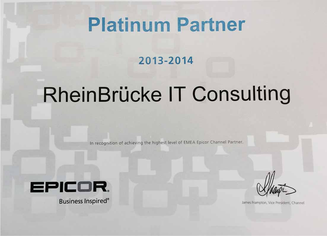 RheinBrücke honored as Epicor Platinum Partner
